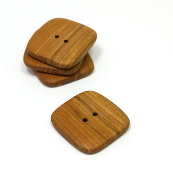 Large wooden buttons. Set of 4 applewood buttons size 1.2 in (30mm) Natural handmade buttons (A1248)