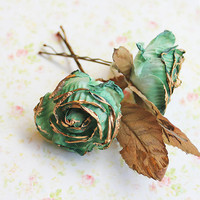 Green and Gold Rose Flower Hair Pins. Whimsical. Weddings. Bridesmaids. Rustic Wedding. Hair Accessories. Fall. Autumn Wedding.
