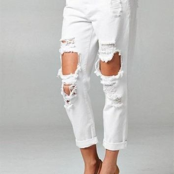 Meredith Boyfriend Jean in Winter White