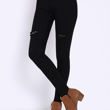 Black Ripped Denim Pant