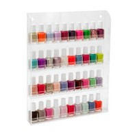 "40 Bottles Clear Acrylic Nail Polish Salon Wall Display Storage Rack 16"" x 12"""