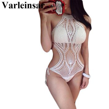 Fish Net Knit Crochet One Piece monokini maillot de bain