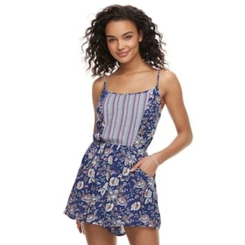 Juniors' Lily Rose Mixed-Print Romper | null