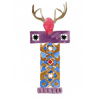Totem 4 The deer Variation , art print of my original watercolor painting, folk art, geometric, wall decor, nursery decor, Southwest