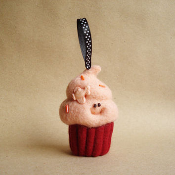 Happy Peach Meringue Cupcake_Christmas Ornament_Needle felted cupcake_Kawaii Christmas decoration_Smiley pink peack cupcake_OOAK