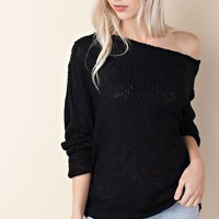Black Wide Neck Ribbed Knit Sweater