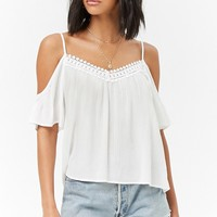 Crochet-Trim Open-Shoulder Top