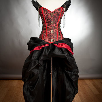 Custom Size Black and Red Steampunk Burlesque corset with train prom dress