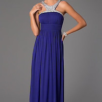 Floor Length Ruched Empire Waist Prom Dress