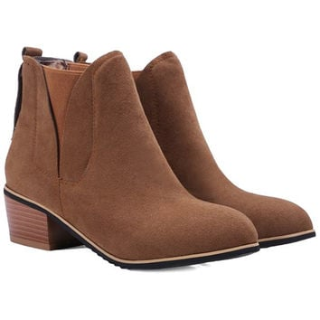 Concise  Ankle Boots With Chunky Heel and Suede Design