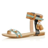 turquoise ankle strap tassel sandals - sandals - shoes / boots - women - River Island