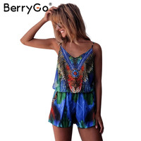 BerryGo Boho sexy women jumpsuit romper Female bow overalls beach playsuit Floral print Hot drilling new chiffon summer jumpsuit