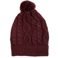 Burgundy Faux Fur Pom Bobble Beanie