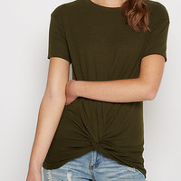 Olive Knotted Hem Ribbed Tee