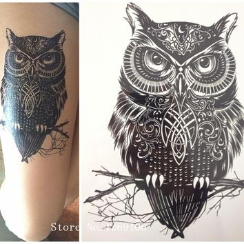 2016 NEW Fashion Sample OWL 21 X 15 CM Sized Sexy Cool Beauty Tattoo Waterproof Hot Temporary Tattoo Stickers