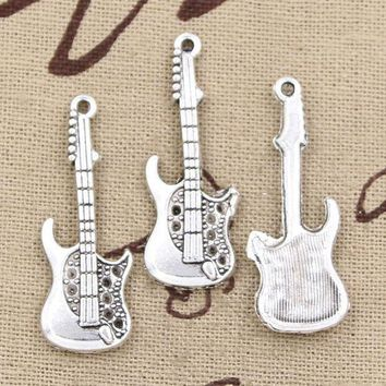 CREYONFI 99Cents 5pcs Charms electic guitar 36*12mm Antique Making pendant fit,Vintage Tibetan Silver,DIY bracelet necklace