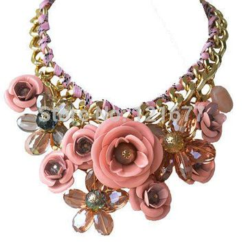 17 Colors CHOKER NECKLACES Fashion Flower Jewelry Chunky Statement 2015 Multicolor Cotton Rope Collares For Women Accessories