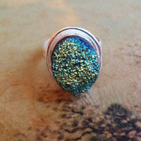 Rainbow Druzy Gemstone Natural Ring Ladies Size 7 925 Silver Plated Boho Chic Retro Statement Cocktail Oval Bezel Quartz Crystals
