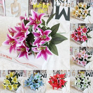 10 Head Simulation Lily Flower Bouquet Fake Flowers Bridal Wedding Garland Decor Home Decor