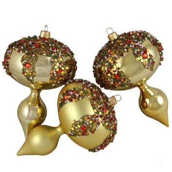 3 Christmas Ornaments - Gold Shiny And Matte With Embellishments