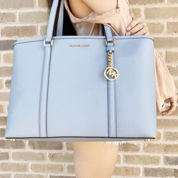 Michael Kors Sady Large Multifunctional Top Zip Tote Laptop Bag Pale Blue