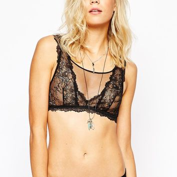 Oysho Black High Neck Bra
