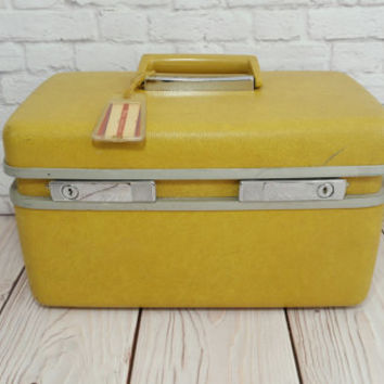 Vintage Yellow Train Case Royal Traveler Mustard Cosmetics Case