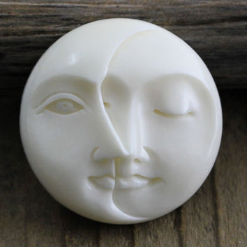 Moon Face, Eyes Closed - Eyes Open - Carved Bone Round Cabochon 25mm