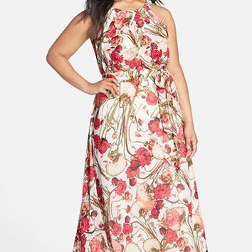 Plus Size Women's Adrianna Papell Halter Style Floral Maxi Dress,