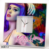KATY PERRY Wall CLOCK Mirror Wood Frame Collection Fan Pop Star Fan Art Music Lover Gift Poster Watch Home Room Decor Gift Souvenir Design