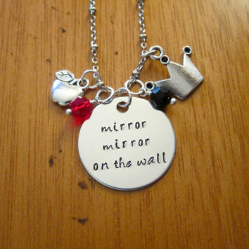 """Disney's """"Snow White"""" Inspired Necklace. Evil Queen Villain. """"Mirror Mirror On The Wall"""". Wicked Queen. Silver colored. Swarovski crystal."""