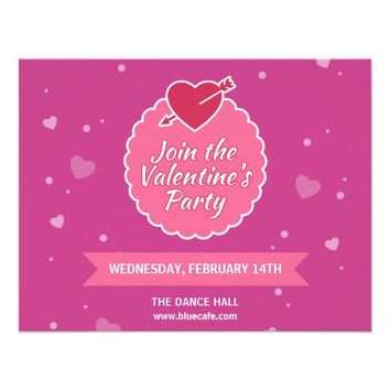 Pink Purple Valentine's Day Party Invitation Card