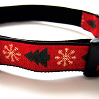 Christmas Tree Dog Collar Adjustable Sizes M, L, XL)
