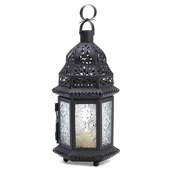 Iron And Clear Glass Moroccan Style Candle Holder Lantern