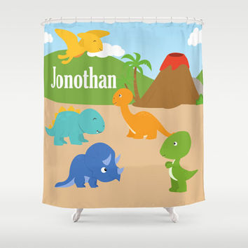 Dinosaurs  Personalized Shower Curtain