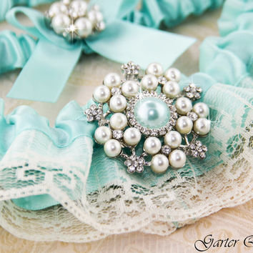 Tiffany Wedding Garter, Something Blue, Blue Lace Wedding Garter Set, Bridal Garter Set, Ivory Lace Garter, Ivory Garter Set