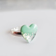 Mint Silver Heart Ring - Adjustable Ring