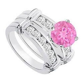 Pink Sapphire & Diamond Engagement Ring with Wedding Band Sets 14K White Gold  0.90 CT TGW