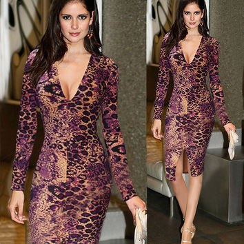 Morgan Long Sleeve Leopard Print Dress