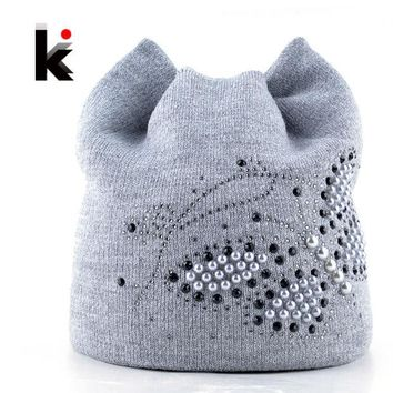 CREYWQA Winter Cat Beanie Hat Ladies Knit Hats For Women Beanies Caps Pearls Butterfly Diamond Beanie Touca Knitted Cap With Ear Flaps