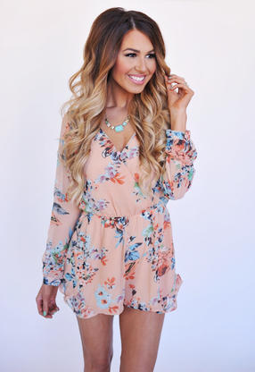 Peach Floral Long Sleeve Romper From Dottie Couture Boutique