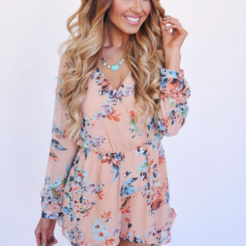 Peach Floral Long Sleeve Romper