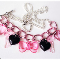 Black and Pink Chain Bow Heart and Key Charm Silver by ykonna