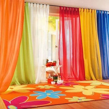 Coloful Floral Tulle Door Window Curtain Drape Panel Sheer Scarf Valance