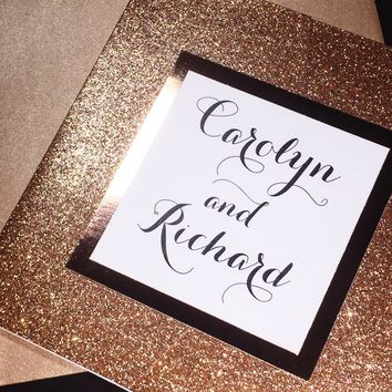 Rose Gold Glitter and Foil Wedding Invitation, Luxury Wedding Invitation, Calligraphy Wedding Invitation CAROLYN VERSION GLITTER POCKETFOLD