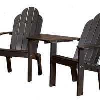 Michael Anthony Furniture Gaea Black Poly Lumber Tete a Tete Deck Chair