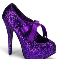 Purple Glitter High Heel Platform Pump - 9