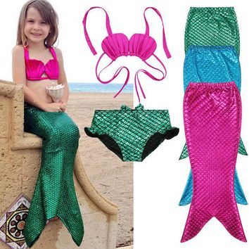 DKF4S 3PCS Girl Kids Mermaid Tail Swimmable Swimwear Swimsuit Girls Bikini Set Bathing Suit Fancy Costume 3-9Y size 100-150