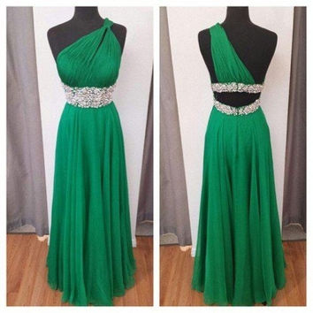 Green New Long Prom Dresses Special Occasion Dresses One-Shoulder Party Gown 2015 New Fashion Floor-Length Prom Dress = 1956848004