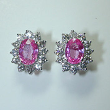 4.30ct Pink Sapphires and Diamond Earrings JEWELFORME BLUE